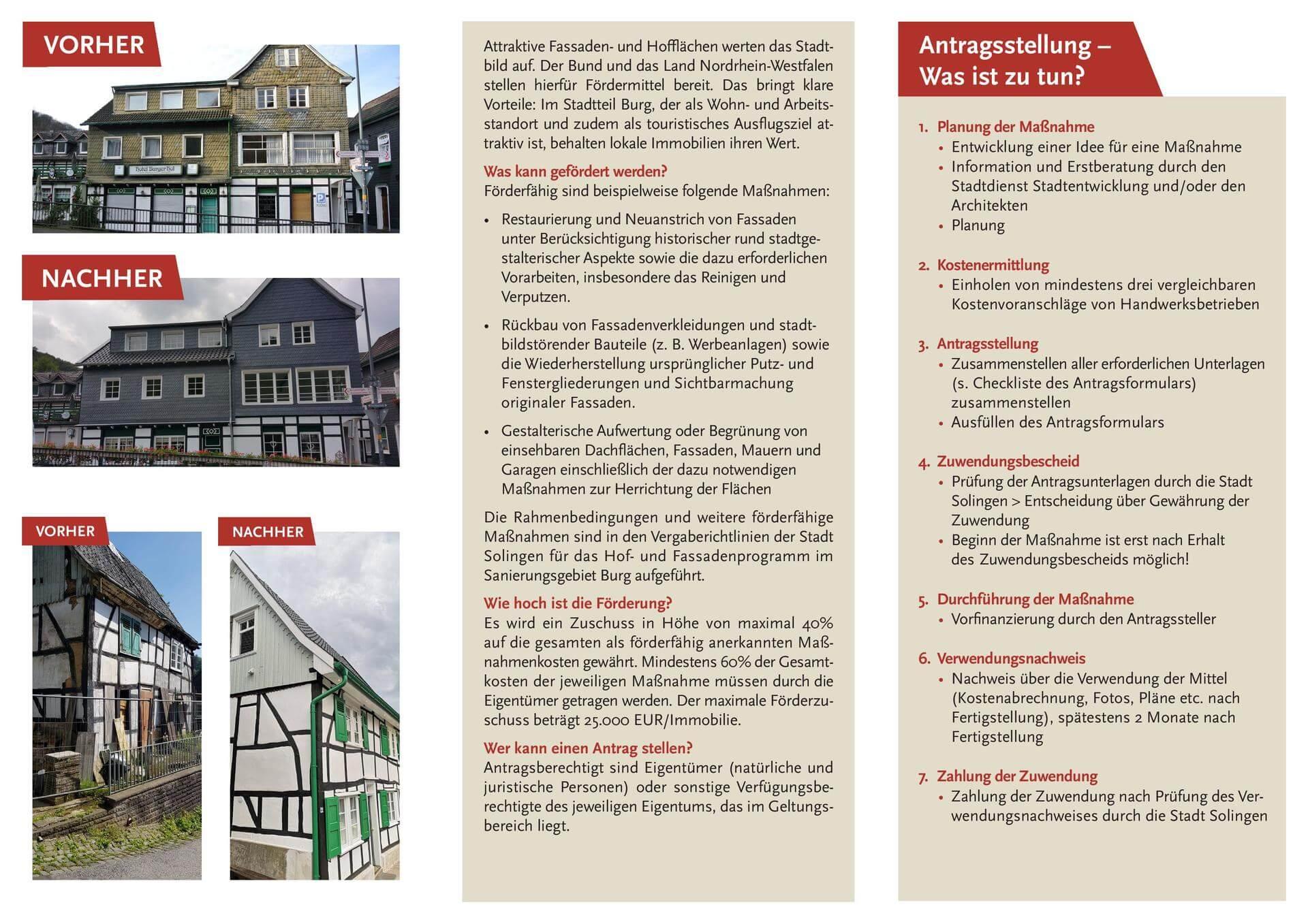 Flyer Hof-und Fassadenprogramm Oberburg und Unterburg Rückseite