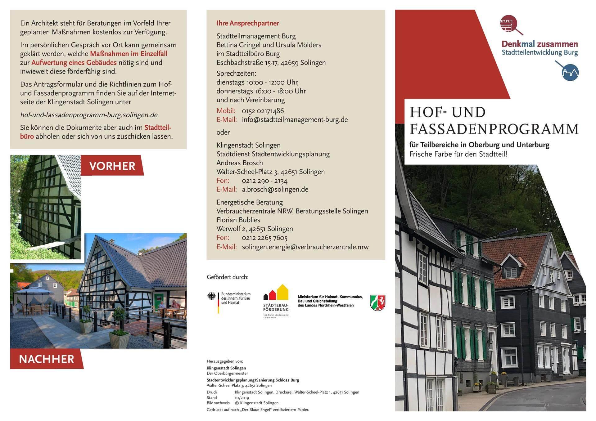 Flyer Hof-und Fassadenprogramm Oberburg und Unterburg Vorderseite