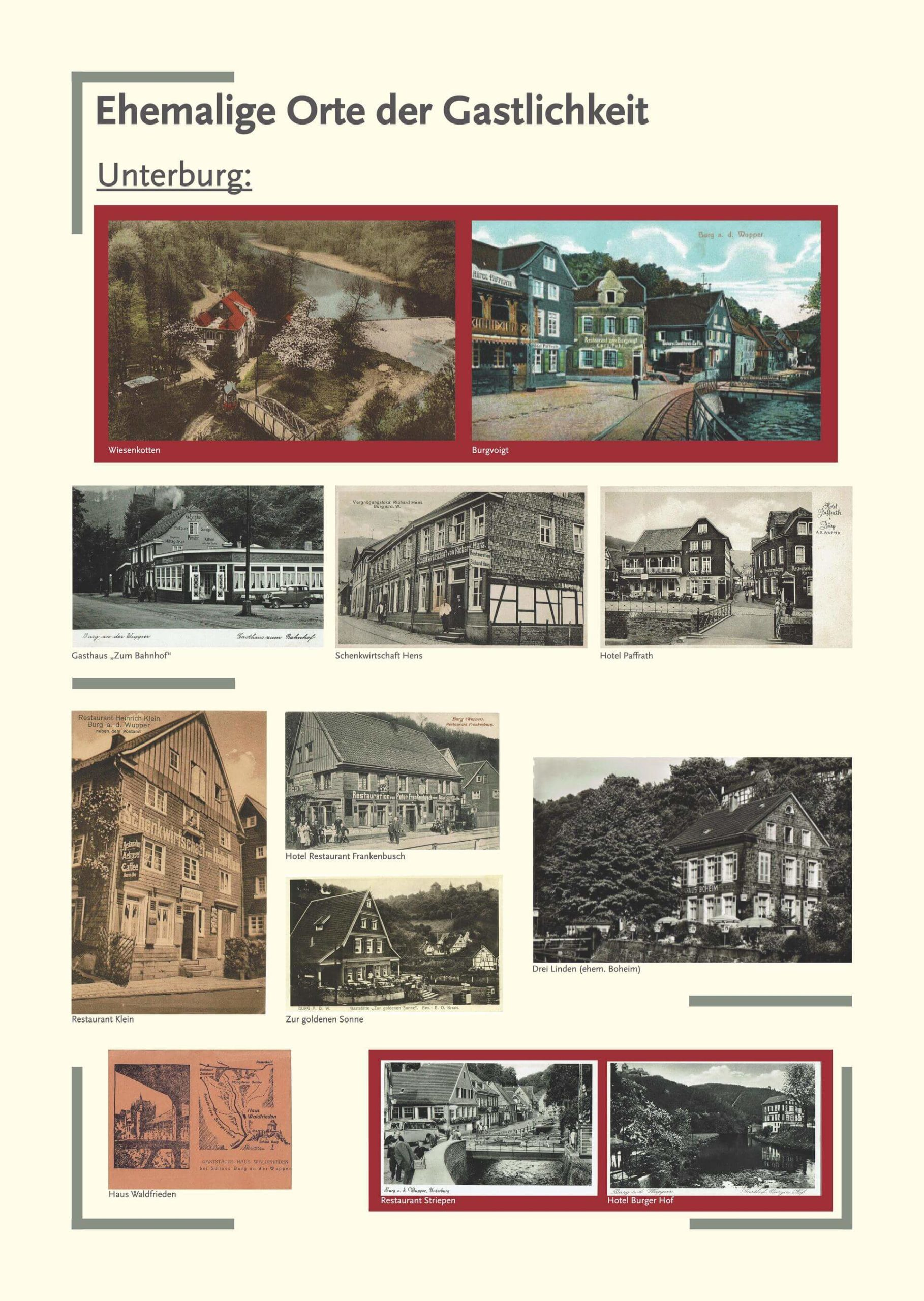 Tafel ehemalige Orte Unterburg