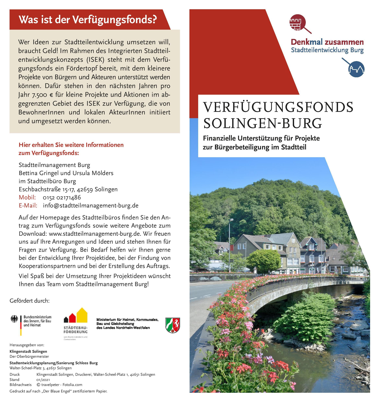 Flyer Verfügungsfonds Solingen Burg Vorderseite 2021